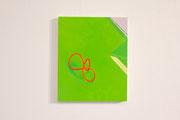 輪ゴム・クリアファイル緑 パネルに綿布 水可溶性油絵具