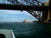 Auf der Fährfahrt auf die andere Stadtseite schöner Blick auf die «Harbour Bridge»