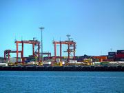 Die Hafenkräne zeigen an, dass wir bald den Harbour von Fremantle erreichen