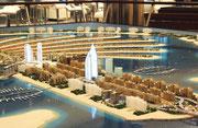 Auf dem Modell ist jede einzelne Villa, die Appartmenthäuser, die Hotels . . .