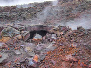 Beim Lava-Niedergang bilden Luftlöcher solche «Backöfen»