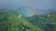 Regenbogen über dem feuchten Regenwald von Soufrière auf St. Lucia