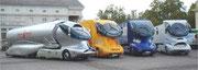 Treibstoff-Spartrucks auf verschiedenen Chassis aufgebaut