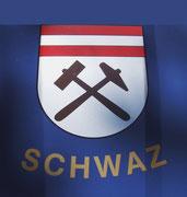 Das Ortswappen von Schwaz symbolisiert das Silber-Bergwerksdorf