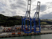 Die Hafenkräne des größten Hafens der Südinsel von Neuseeland . . .