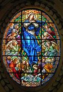 Wunderschönes Glasfenster in ovaler Medaillonform. . .