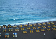 Blick aus dem Hotelzimmer zum Kieselstrand von Rhodos Beach