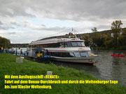 Mit einem Elektro-Ausflugsschiff geht es auf den Donaudurchbruch . . .
