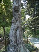 Tolle Baumschnitzarbeit mit dem Alaska-Symbol, dem Braun-Bär