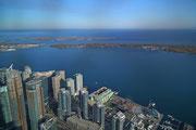 Blick aufs Festland und im Hintegrund auf den Toronto Island Park