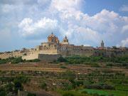 Blick, auf die mit einer Ringmauer umschlossenen Stadt, Mdina