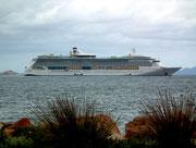 Blick auf das im offenen Meer vor Anker liegende Schiff der «Royal Caribbean Cruises»