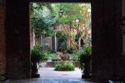 Blick in einen begrünten Innenhof