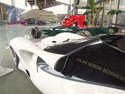 Detail von Kotflügel und Rückspiegel in perfekter aerodynamischer Linienführung