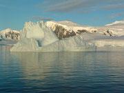 Die sensationell ruhige See ergab schöne Spiegelungen der Eisberge