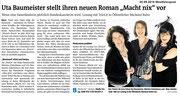 """05.09.2016 Westfalenpost - Uta Baumeister stellt ihren neuen Roman """"Macht nix"""" vor"""