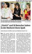 24.09.2016 Westfalenpost - TrioLit mit Buchvorstellung in Bücherei