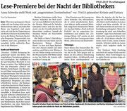09.03.2015 Westfalenpost - Lese-Premiere bei der Nacht der Bibliotheken, Balve