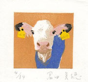"""「青チョッキの白ちゃん」水性木版画 """"Blue Vest White Calf""""  Woodblockprint on paper  4.7cm×5cm"""