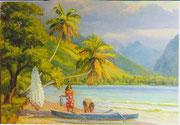 Retour de pêche de Tautira (Tahiti) 50x70 HST