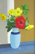 Vase bleu fleuri HST 40x20 2014