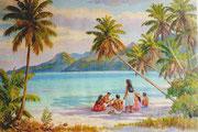 Musique sur la plage de Moorea 59x88 HST