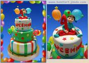 """Торт для Арсения на 1 год """"Малыш, шарики и звездочки"""". Вес 11,8 кг. Три яруса-три вкуса"""