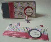 Weißblechbox mit Einsteckkarte und der Möglichkeit ein Geldgeschenk unterzubringen