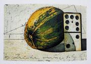 """"""" Domino """" Farbradierung von drei Kupferplatten, 1997, gedruckt auf 450gr. Zerkall-Bütten. Auflage 145 Exemplare arabisch und 15 Exemplare römisch nummeriert und signiert. Bildmaß: 10 x 15cm, Papiermaß: ca. 27 x 31cm, Kennzeichnung: 1/145 - 145/145, EA I/"""