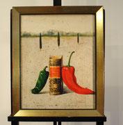 """Unikat auf feinster Leinwand vom 21.8.1998 in Echtgold gerahmt, siehe auch die Farbradierung von 2001 """"Rabelais"""", 60 cm x 47 cm, 2.850,-€"""
