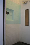 Hospitality, 2005; Watercolor on paper, latex paint, wood, molding strip, towel rack, 8 feet x 2 feet x 3 inches - detail - view