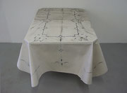 Tablecloth, 2004; Watercolor on shaped paper, wood, 29 x 31 x 41 inches