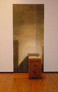 Night Table, 2004; Watercolor on paper, wood, latex paint; wall painting: 8 x 44 feet, floor: 44 x 24 inches, table: 26 1/2 x 16 x 13 inches