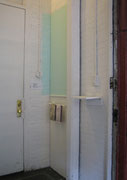 Hospitality, 2005; Watercolor on paper, latex paint, wood, molding strip, towel rack, 8 feet x 2 feet x 3 inches