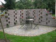 Tegula-Mauersteine als Mauer