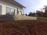 Stützmauer mit Jurakalksteinen incl.Ausfugung