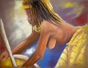 Femme au pilon- pastel 50X65cm