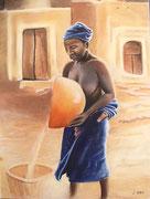 Dogon - pastel 50X65- peuple du Mali, les dogons occupent une région qui va de la falaise de Bandiagara au Sud Ouest de la boucle du Niger