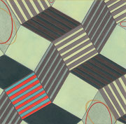 "Tumbling Blocks (study #3). Acrylic, graphite, and colored pencil on paper. 5.5"" x 5.5"". 2013"