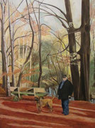 """""""Мужчина с собакой"""""""", акрил на холсте, 80х60см, часная коллекция"""