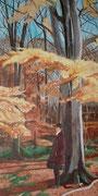 """В осеннем лесу"", акрил на холсте, 100х50см, 350 €"