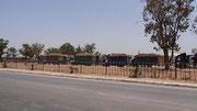 Les camions de betteraves attendent leur tour à la sucrerie