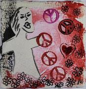 Friedensruf, Dispersion und Tusche auf geschöpften Papier. 8x8 cm, 15€
