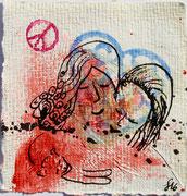 Dispersion und Tusche auf geschöpften Papier. 8x8 cm, 15€