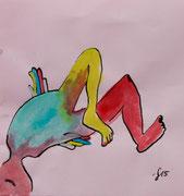 Farbe auf Briefumschlag, 16x11cm, 10€