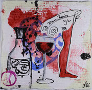 Frau Bein mit Kater, Dispersion und Tusche auf geschöpften Papier. 8x8 cm, 15€