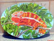 Pantherchamäleon Ovale Leinwand 30 cm Acryl  Preis:  € 25,--