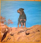 Mein Rottweiler mit 6 Monaten 60cm x 60cm mit Struktur und 3 D Effekt UNVERKÄUFLICH