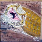 Bartagame Leinwand 20cm x 20 cm Acryl  VERKAUFT
