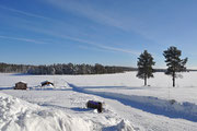 Ausblick auf den Fluss Juktån